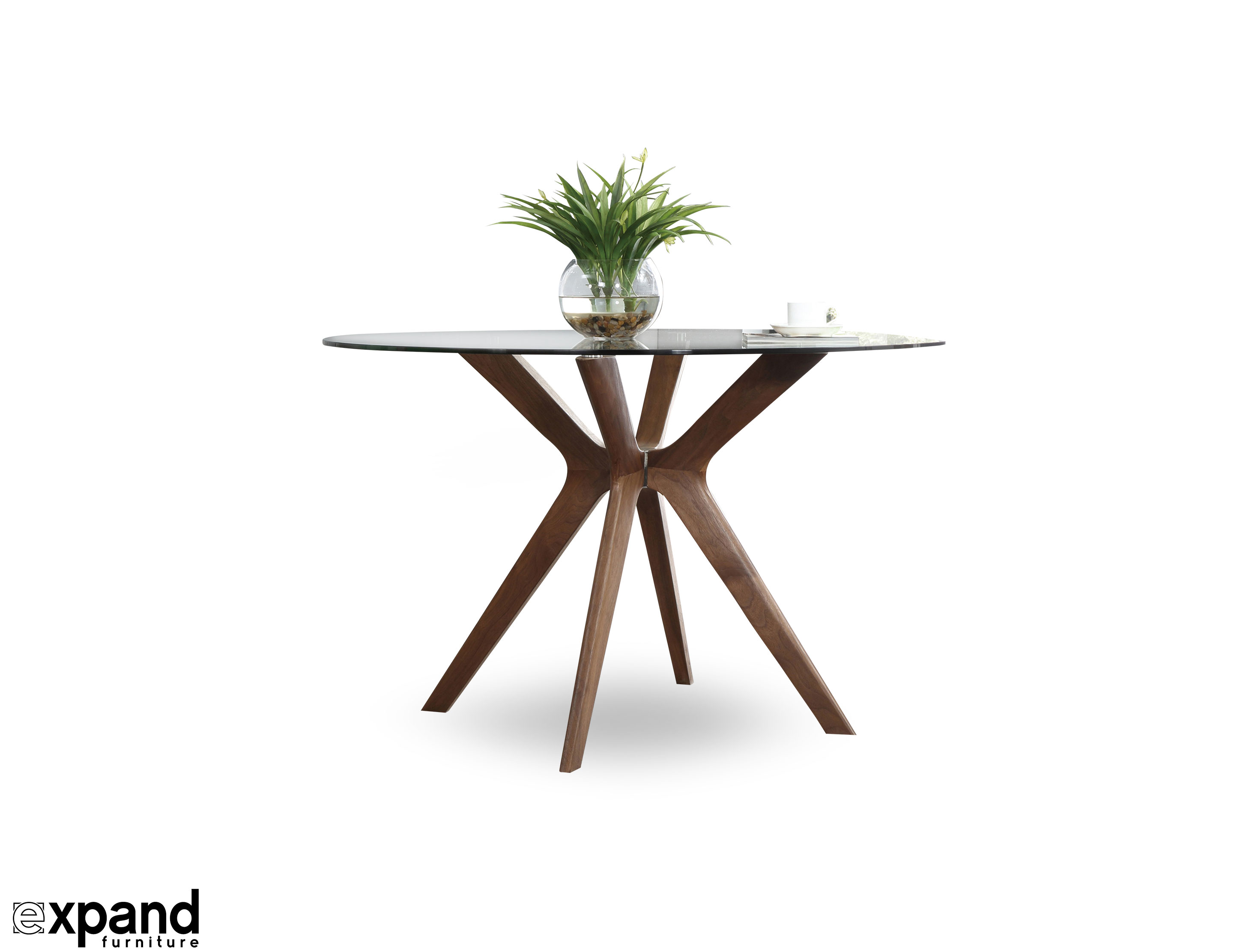 Round Glass Dining Table Canada The Branch Round Clear Glass Table With Wood Legs