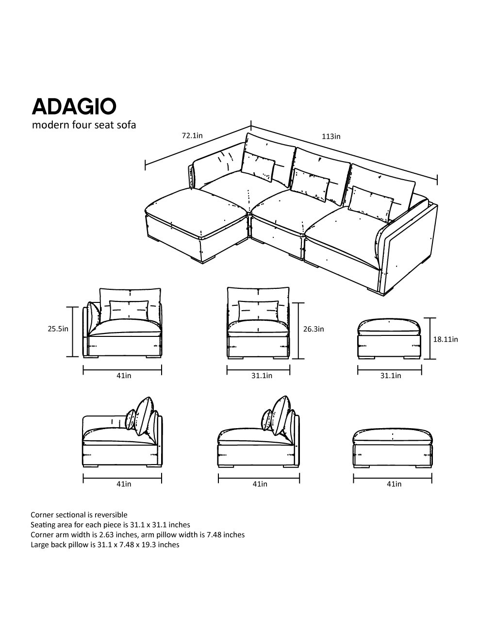 Adagio Luxury Sectional Modular Sofa Set Of 4 Expand Furniture Folding Tables Smarter Wall Beds Space Savers