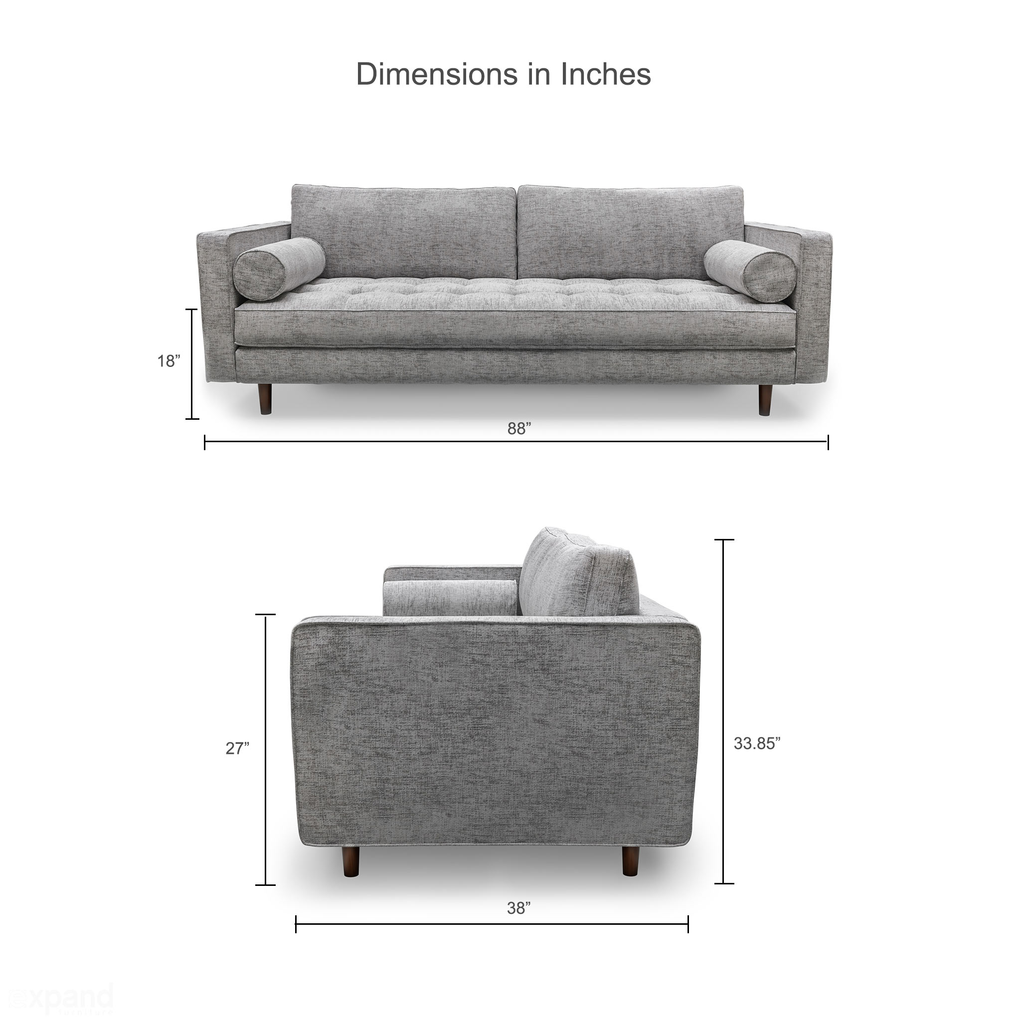 Scandormi Modern Sofa Grey Mid Century Tufted Couch Expand Furniture Folding Tables Smarter Wall Beds Space Savers