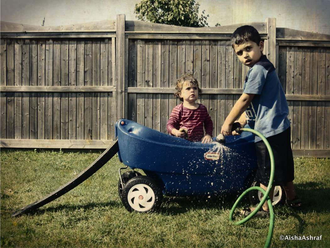 washing a children's wagon
