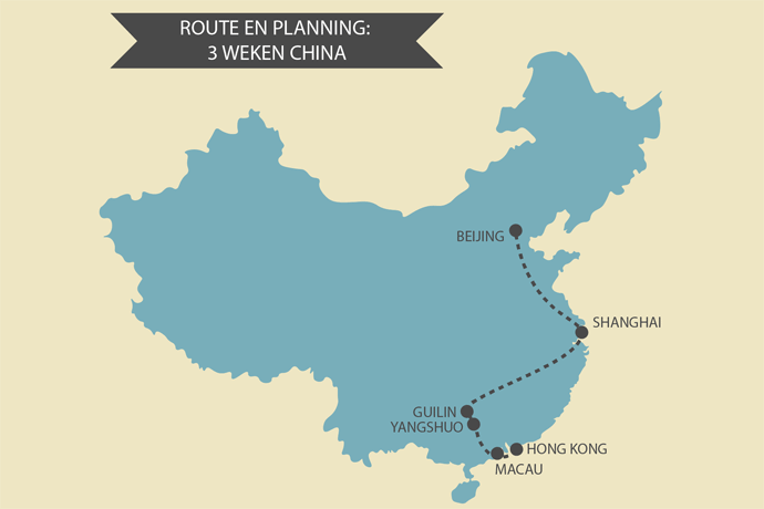 Landkaart Muur Backpacken In China: Route Voor Een Rondreis Van 3 Weken China