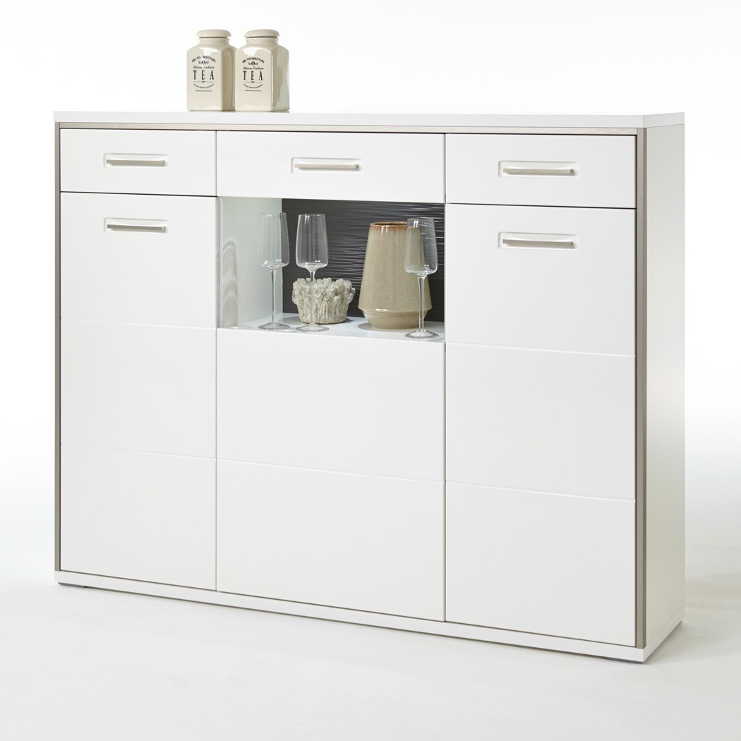 Highboard Esszimmer Highboard Travis 2 Weiß Hochglanz 154x121x45 Cm Schrank