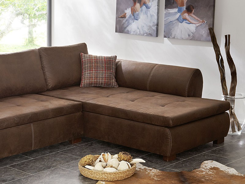 Landhausstil Couchgarnitur Wohnlandschaft 287x196, Braun Antikleder Optik, Ecksofa