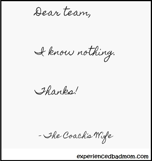 A Letter From the Coach's Wife