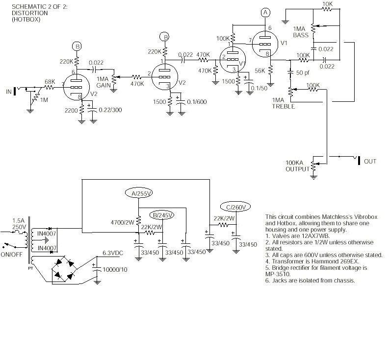 tube distortion pedal schematics