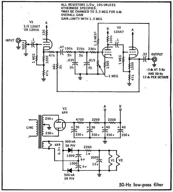 An audio power amp design that combines vacuum tube input - relationship diagram