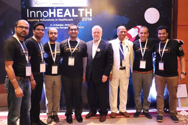 (L-R)Alok Chaudhary, Haritash Tamvada, Areez Malik, Saurabh Gupta, Paul Lillrank, Satish Kumar Gupta, Sachin Gaur and Clarion Smith from Team EWS at InnoHEALTH 2018