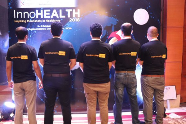 (L-R)Areez Malik, Haritash Tamvada, Clarion Smith, Alok Chaudhary and Sachin Gaur of the ExperimentsWithSugar team at InnoHEALTH 2018