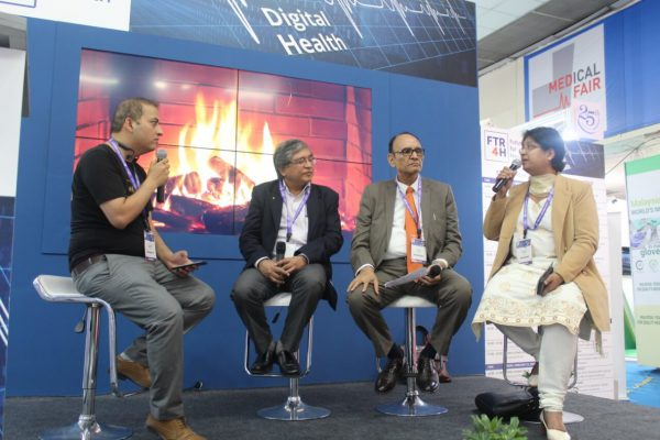 Sachin Gaur, Dr Mukul Bagga, Dr VK Singh & Dr Vibha Jain in a panel discussion hosted by FTR4H at Medical Fair India