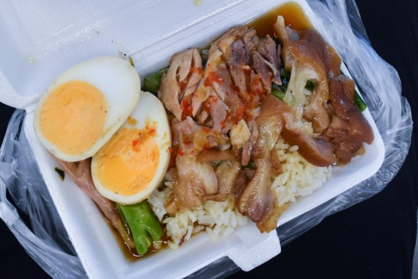 You can find some of the best local delicacies along the way like this pig trotter rice thingy. These street stalls are there every morning and night!
