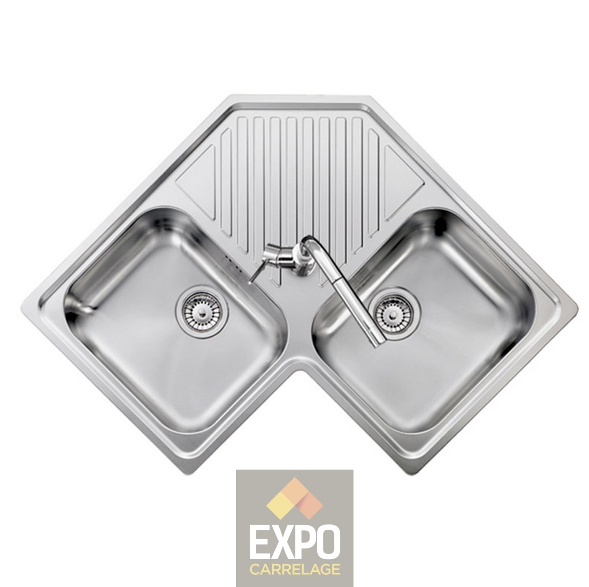 Evier Inox Deux Bacs Evier Inox Refresh D Angle 2 Bacs Expo Carrelage