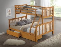 Beech triple wooden bunk bed - Childrens, kids