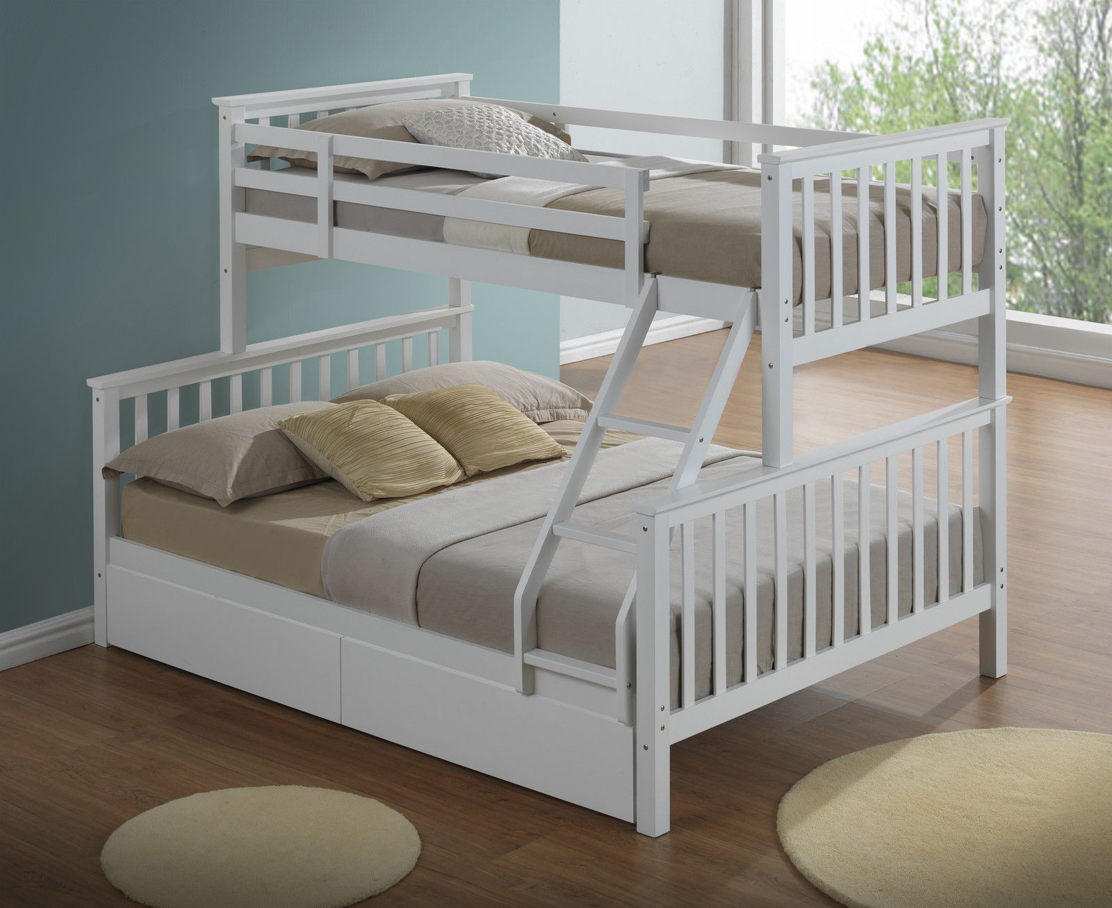Kids Modern Bunk Bed Modern 3 Sleeper White Childrens Bunk Bed Inc Drawers