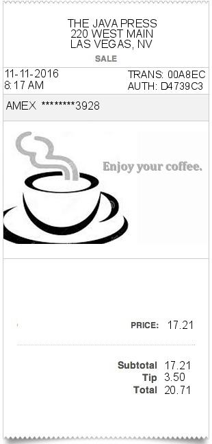 Coffee-receipt ExpressExpense - Custom Receipt Maker