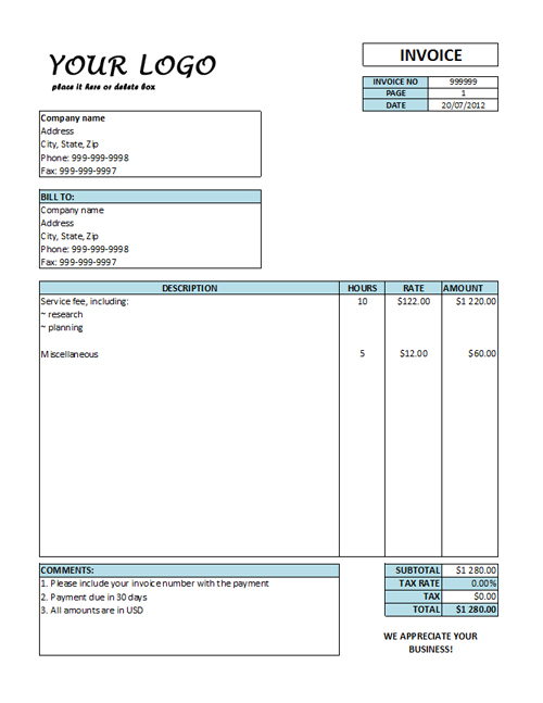 Nice and clean service invoice template - it services invoice template