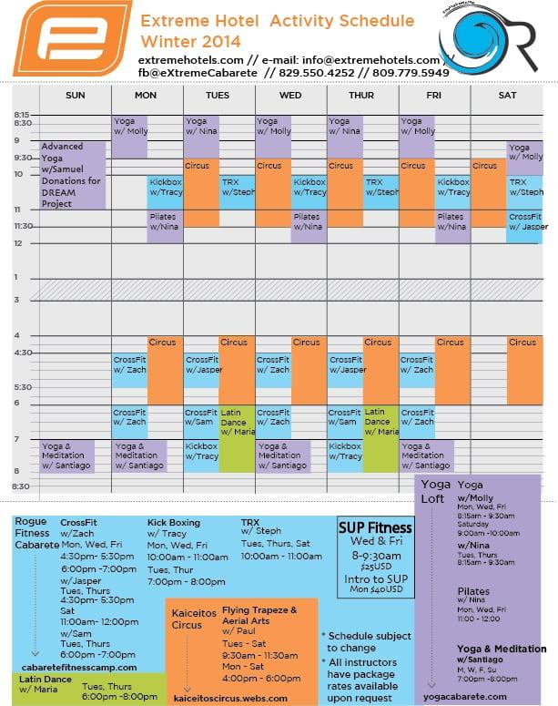 extreme hotel activity schedule