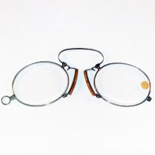 New unworn steel & cork pince-nez +3.25 diopter 1880