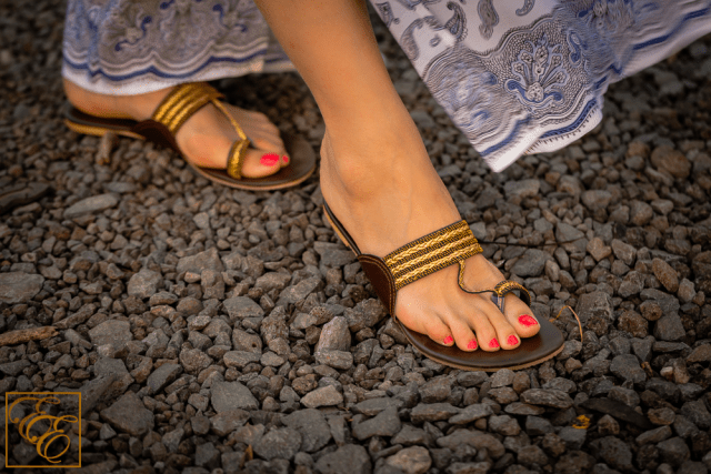 Fuchsia Cherry Gold Thread Rope sandals (kolhapuri chappal style)