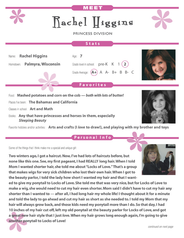 pageant resume example