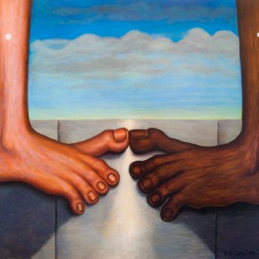 "Bernard Gilardi, ""Untitled (Toes Touching),"" (1972) Oil on Panel, Portrait Society Gallery, Outsider Art Fair NY, Photo courtesy of gallery, 2017"