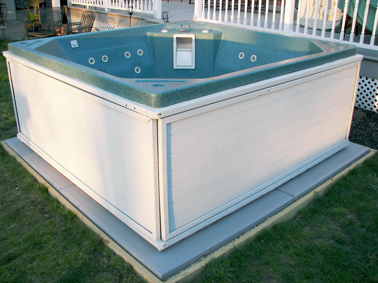 Ez Pad Hot Tub Spa Base Photos Pics And Testimonials Reviews How To Install A Spa Hot Tub Base No Concrete No Sand Insulates From Groundreal People Discuss Spa And