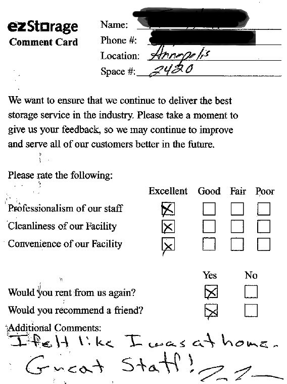 customer comment card template