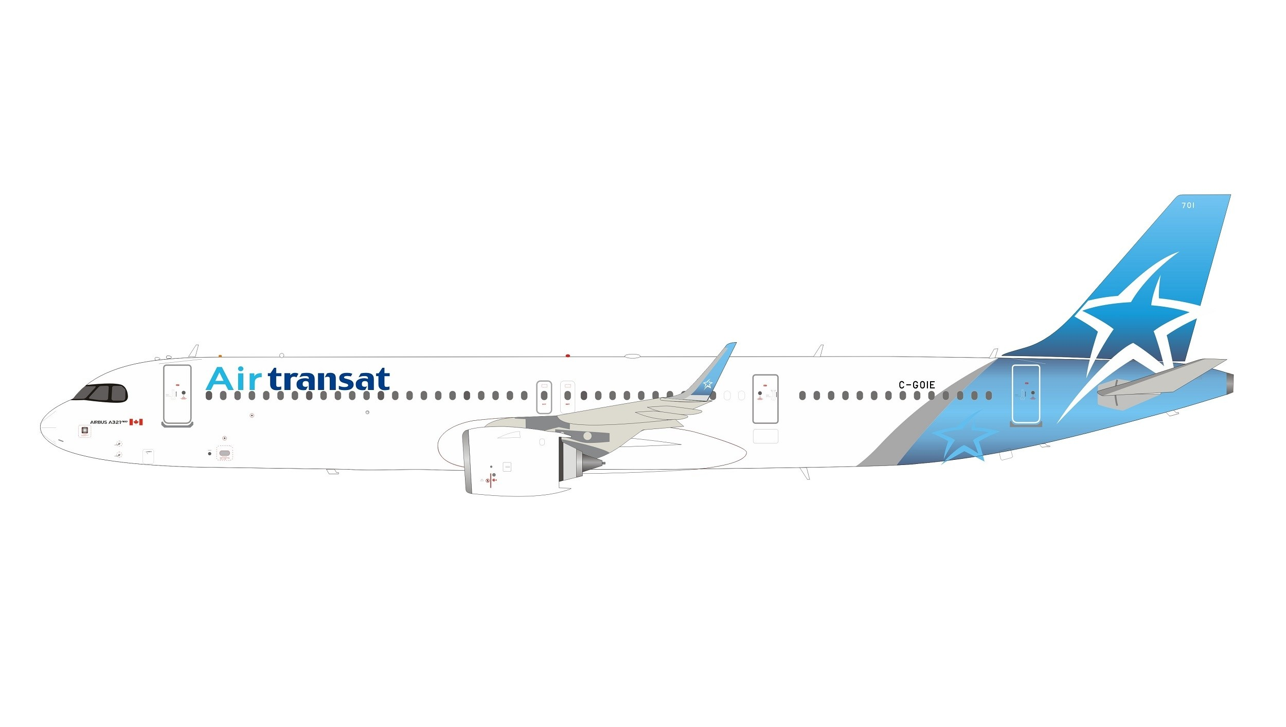 Air Transat Airbus A321neo C Goie With Stand Inflight If321ts1219 Scale 1 200 Eztoys Diecast Models And Collectibles