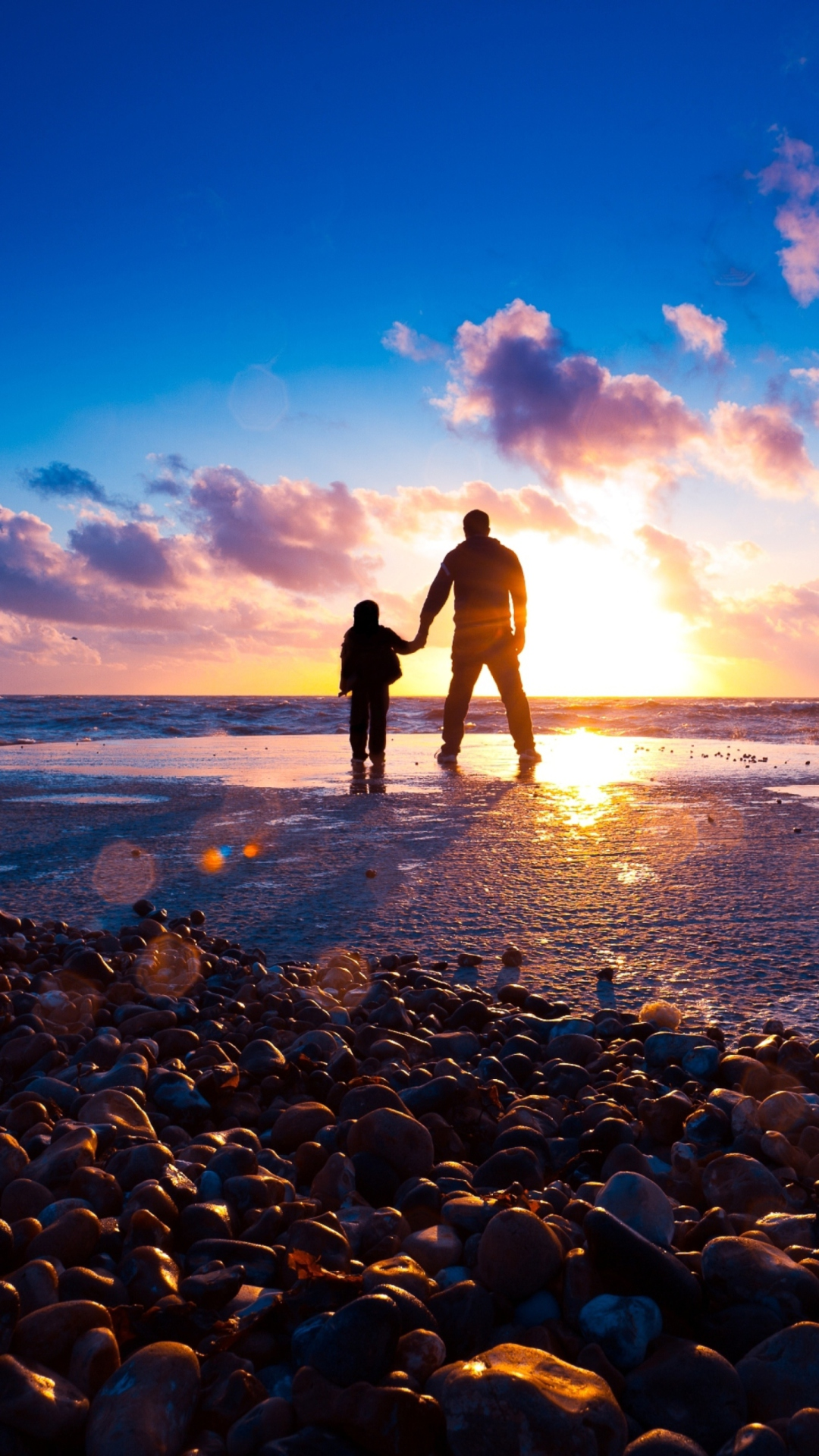All Bollywood Girl Wallpaper Father And Son On Beach At Sunset Wallpaper For 1080x1920