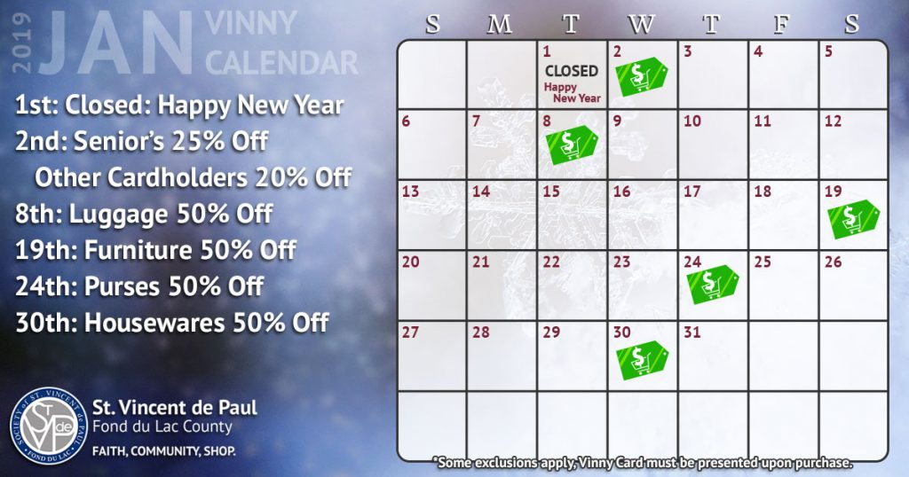 January 2019 Vinny Card Calendar St Vincent de Paul