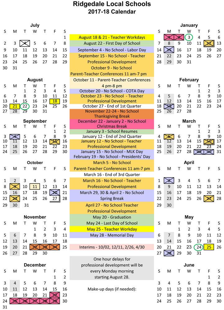 Ridgedale Local Schools - 12 calendar
