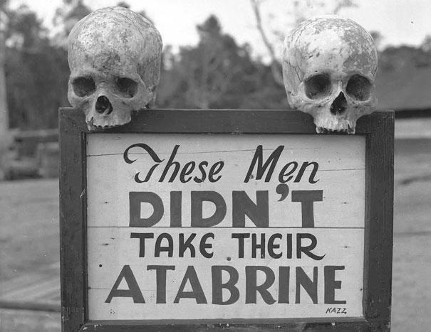 Reklame for malariamedisin, Papa New Guinea under andre verdenskrig