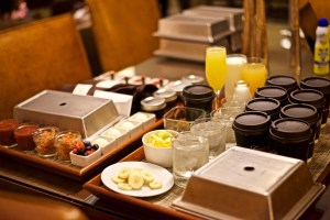 Drinks, condiments for eight people at the resort