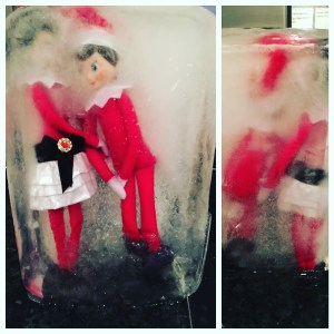 The elf of the shelf is frozen solid!