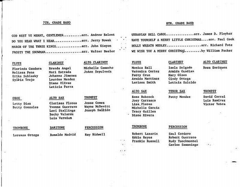 Band Concert Programs Fabens Nostalgia