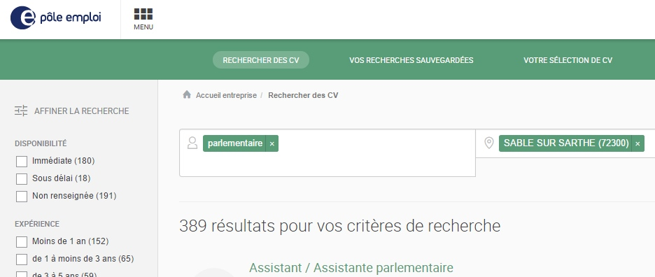 cv assistant parlementaire
