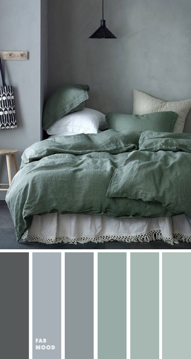 Grey Green Bedroom Color Palette