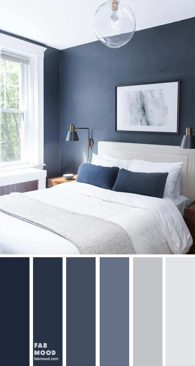 Dark Blue And Light Grey Bedroom Color Scheme