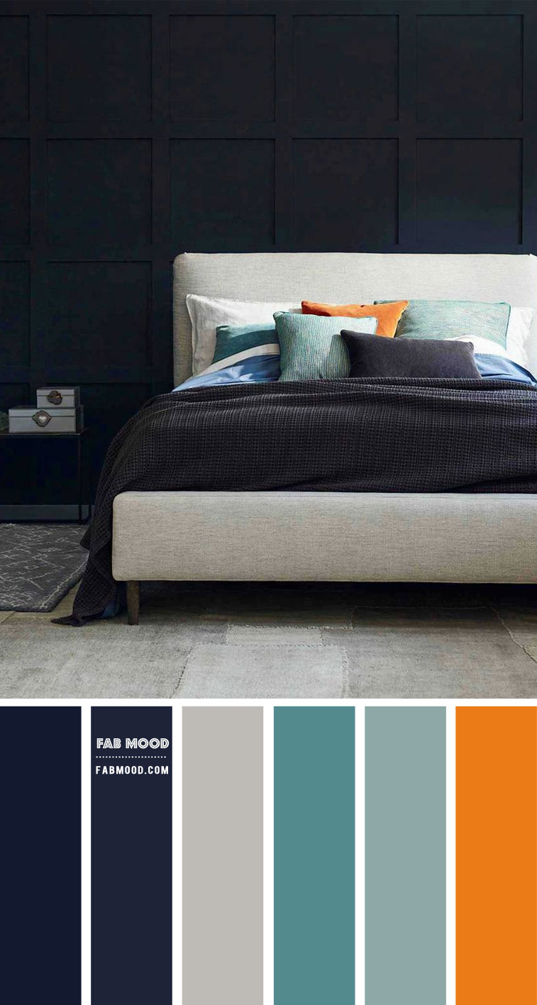 7 Calming Color Palettes For Bedroom Dark Blue And Grey Bedroom Color
