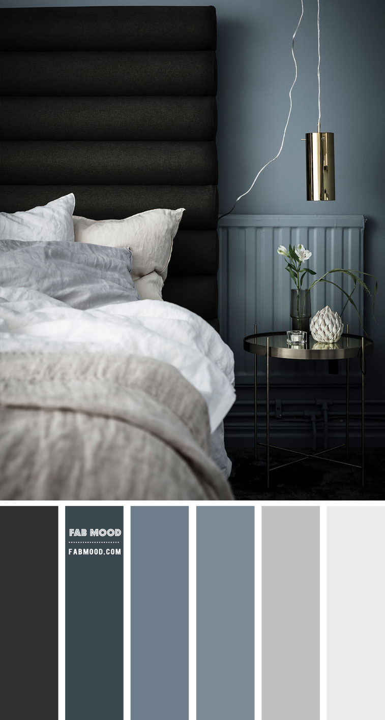 Blue Grey and Charcoal Bedroom Color Scheme