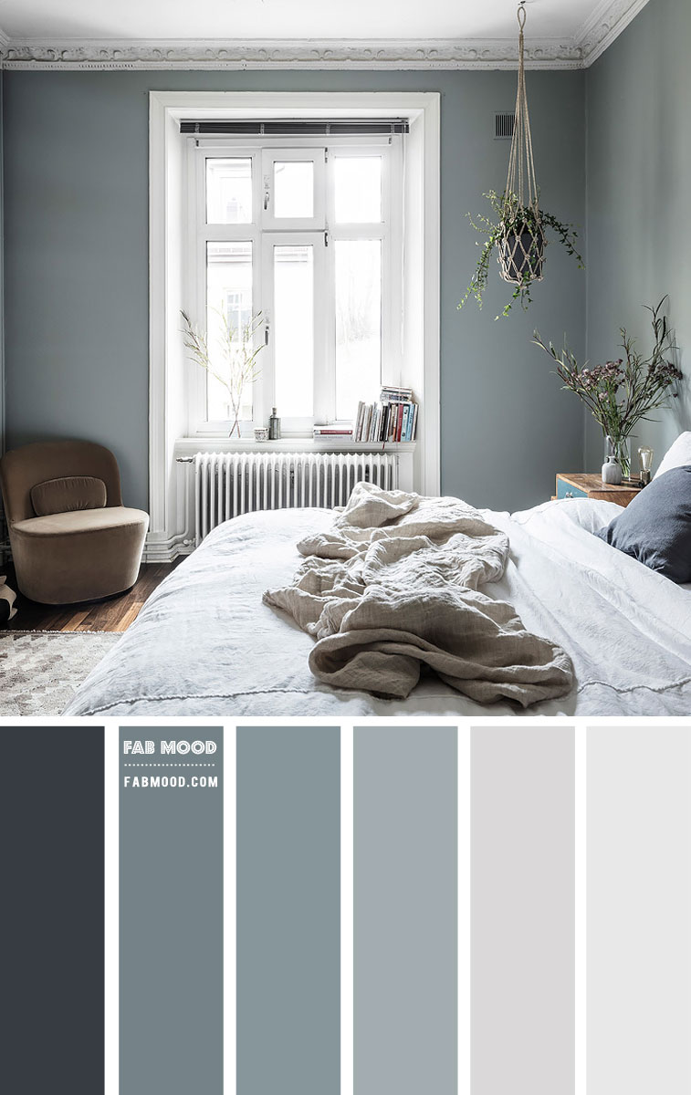 Slate Green And Grey Bedroom Color Scheme