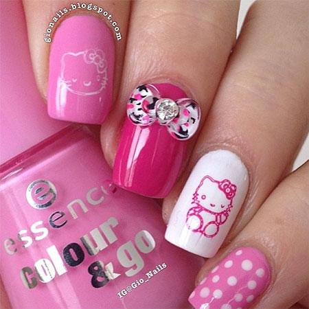 Cute Hello Kitty Nail Art Designs & Ideas 2013/ 2014