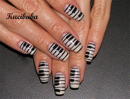 Comfortable Awesome Piano Keys Nail Art Designs Ideas Trends 2014