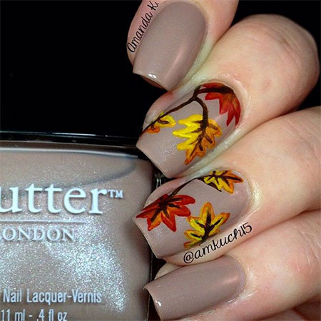 15 + Best Autumn Leaf Nail Art Designs, Ideas, Trends  Stickers
