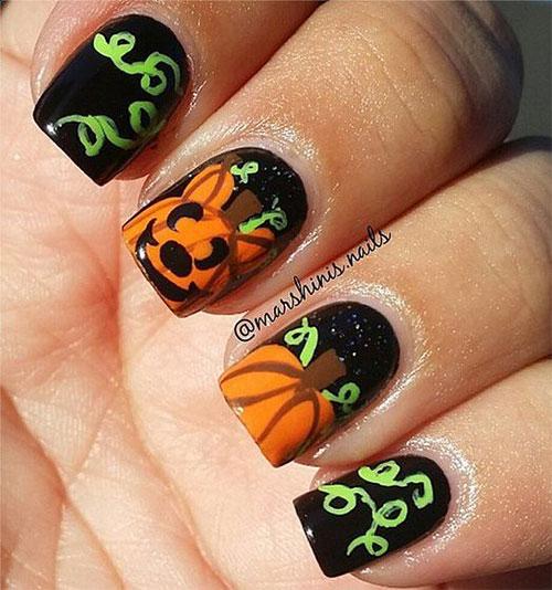 15+ Halloween Pumpkin Nails Art Designs 2016