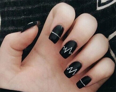 18 Awesome Winter Black Nails Art Designs Ideas 2016
