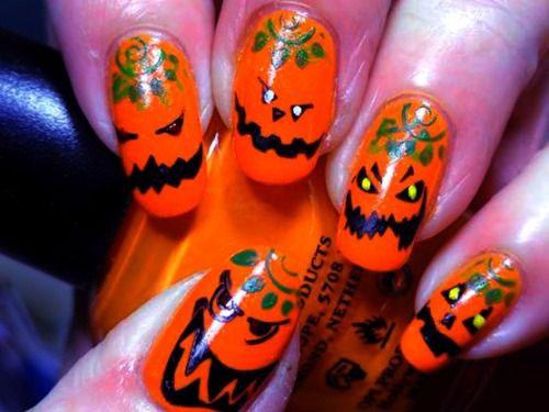 Amazing 18 Easy Halloween Pumpkin Nails Art Designs Ideas 2017