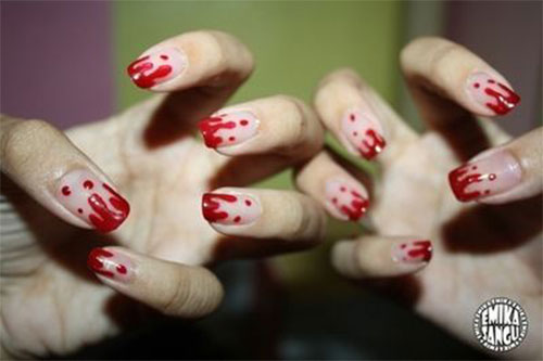 15 Halloween Blood Nails Art Designs Ideas 2018