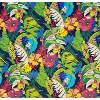 Tropical Garden Flowers Outdoor Fabric in Black | Fabric ...