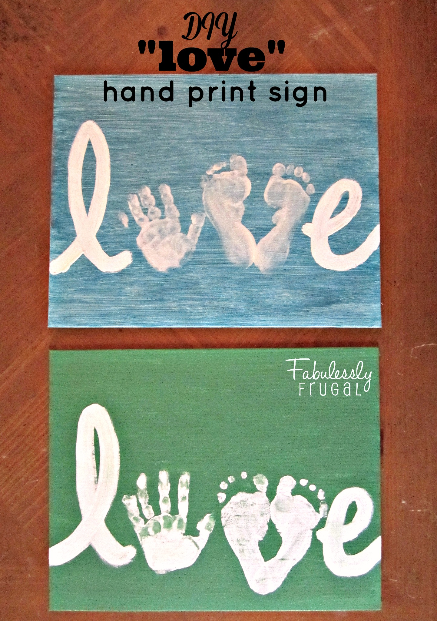 Diy Mothers Day Gifts From Baby Love Hand Print Sign