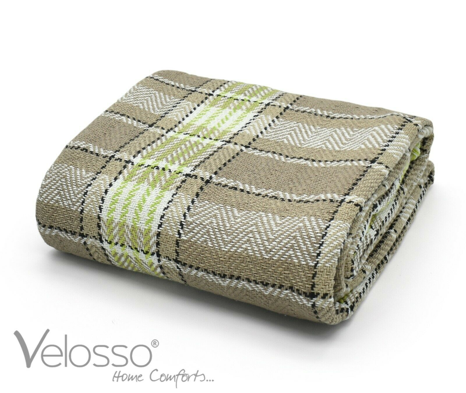 100 Cotton Throw Luxury Bourbon Tartan Check Highlands Sofa Bed Throwover Natural Lime